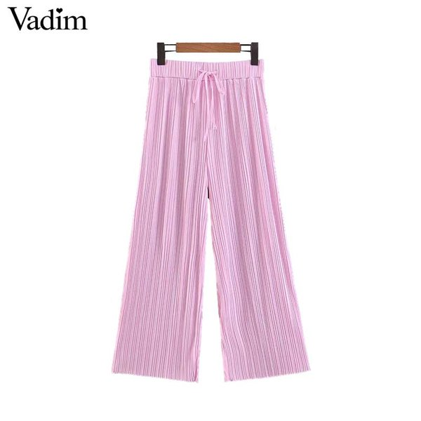 Vadim mujer elegante rosa pantalones de pierna ancha cordón elástico de la cintura plisado casual hasta el tobillo femenino pantalones elegantes mujer KA981