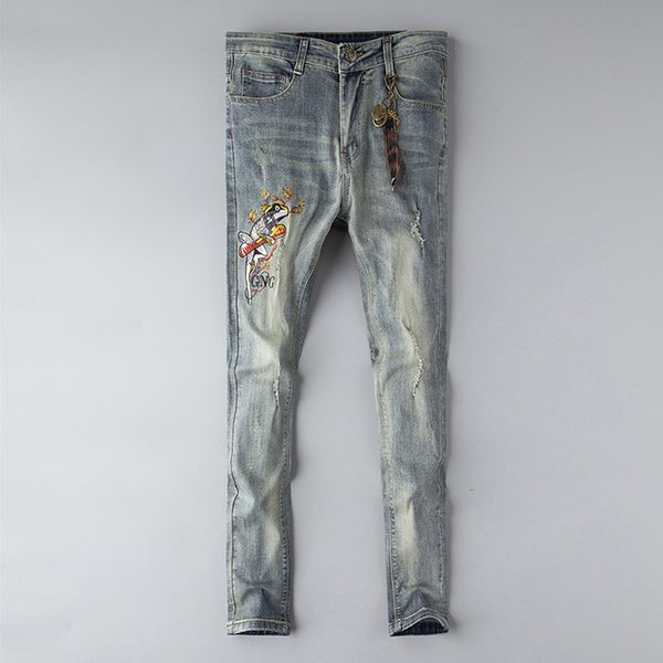 best selling GG designer jeans mens Distressed Ripped Skinny Trousers luxury clothes Slim Motorcycle Moto Biker Hip Hop Denim man embroidery bee Pants