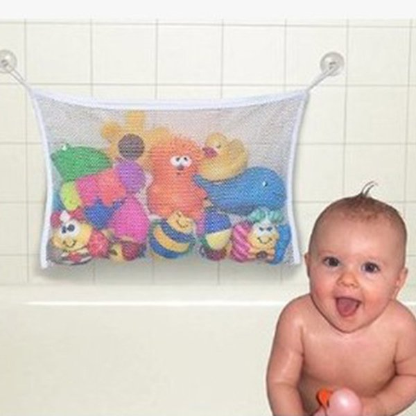Household dirty laundry mesh basket kids baby bath tub toy storage net folding hanging bag organiser for