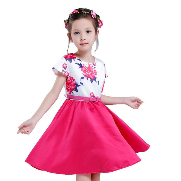 Girls' dresses, 2019 summer sets new children's flowers, short sleeves, Princess Dress + belt.