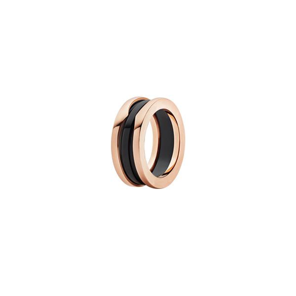 Bestries High Grade Luxury Bugali B.ZERO1 Anniversary Gift Black Ceramics 14K Rose Gold Plated Ring Free Shipping Jewelry With Logo