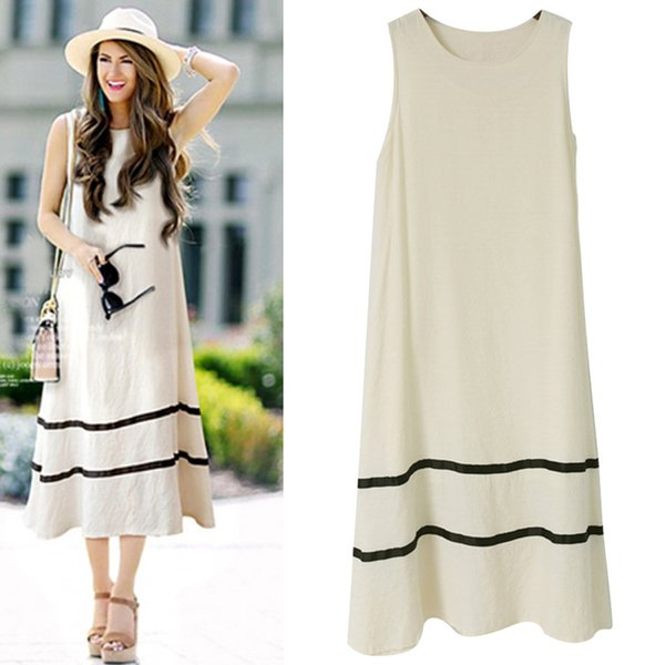 2019 summer dress new fashion women's Europe and America plus size loose type long skirts paragraph sleeveless maxi dresses women clothes