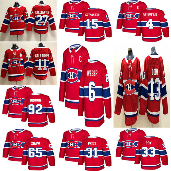 top popular Montréal Canadiens 6 Shea Weber 31 Carey Price 11 Brendan Gallagher 13 Max Domi Stitched Red and White Ice Hockey Jerseys 2019