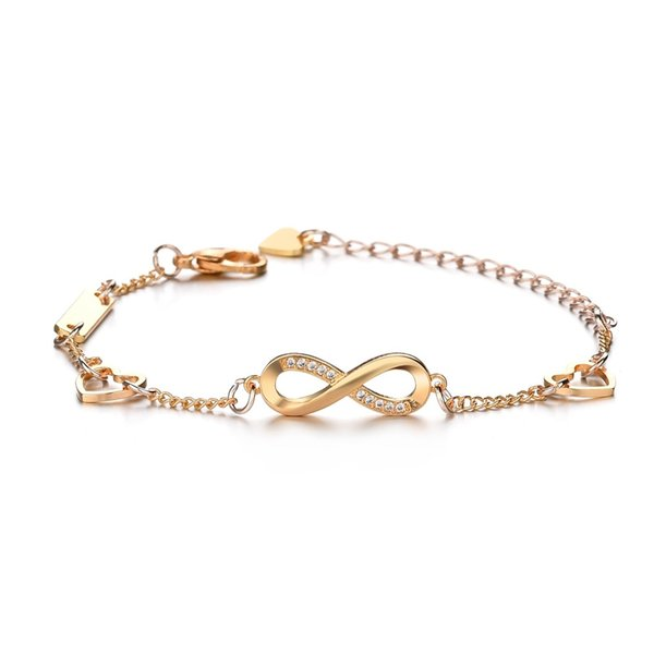 Women's Bracelet Infinity Endless Love Symbol Charm Adjustable Bracelet Gift for Women Girls (Color : Rose Gold, Gold)