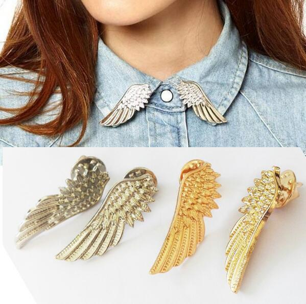 2019 New fashion Popular Silver Gold Color Wings Collar Pin Sweater Shirt Brooches For Women Angel Wing Cute Girl Punk Jewelry