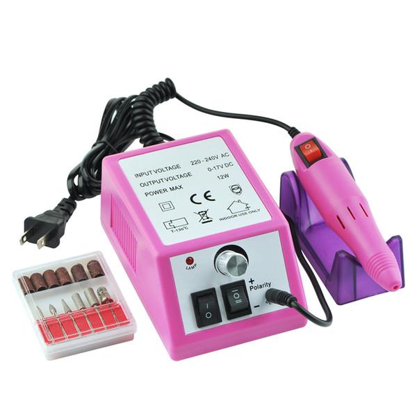 Dropshipping eléctrico Kit de acrílico profesional del taladro del clavo de la máquina del archivo Bits de la manicura de enchufe de EE.UU. SMJ UE