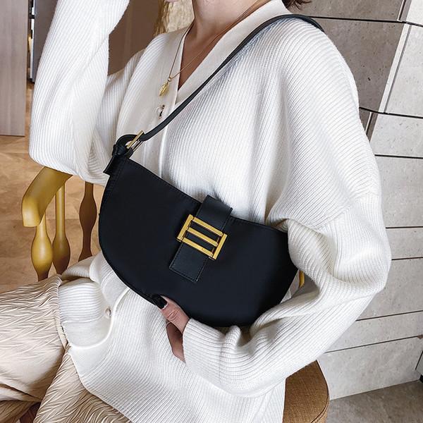 Textured bag barra nera delle donne borsa di nylon tessuto ascellare 2019 nuova moda piccola fresco in pendenza di spalla casuale