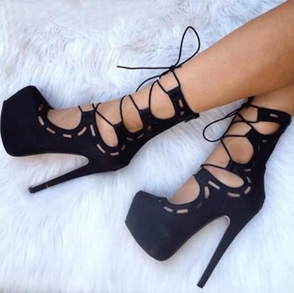 Moraima Snc Black Suede высокой пятки Сандал сапоги супер высокой платформы шнуровке Ботильоны женщины сексуальная обувь разрезами