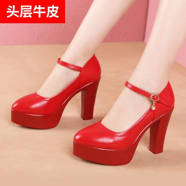 1Show Go Excellent High-heeled Shoes Genuine Leather Waterproof Platform Thick Bottomed With One Buckle Small Code Red Wedding Shoes Woman