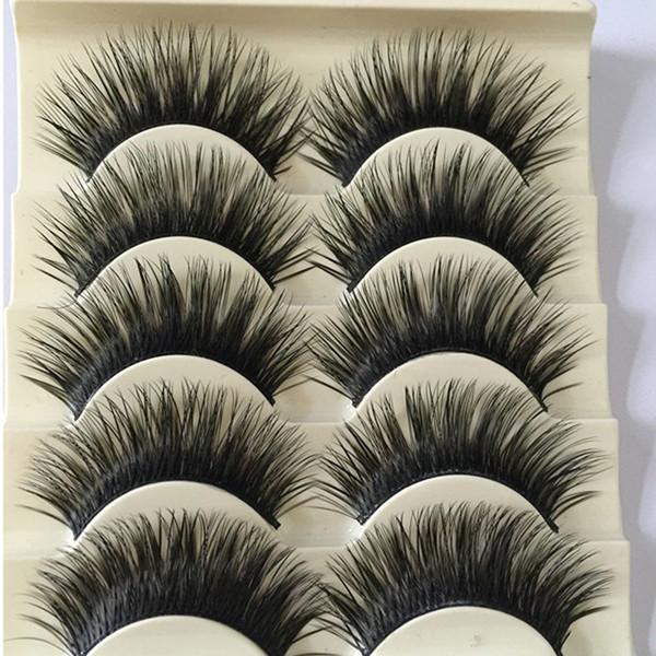 5 Pairs Women Soft Handmade Natural Longlasting Fake Eye Lashes Handmade Thick False Eyelashes Eye Makeup Extension Tools D19011701