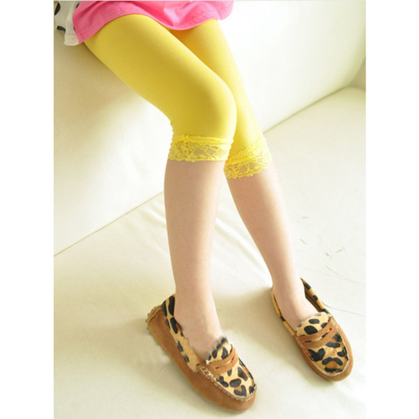 """2019 Spring And Summer Lace Children With Girl""""s Seven Leggings Skinny Pencil Pants Solid For 2-8 Olds Elastic Waist Pants"""