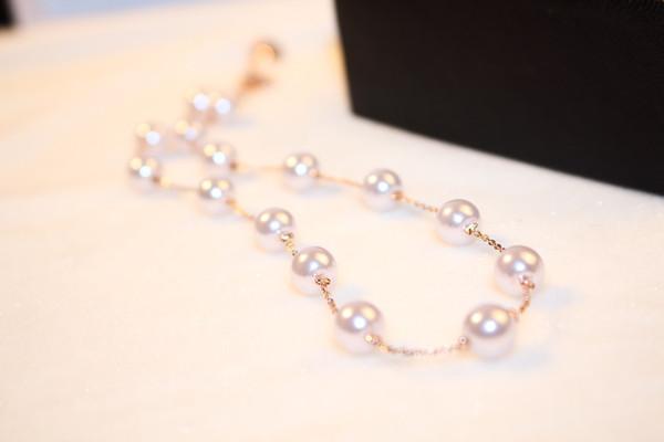 45cm placcato oro 18k stile coreano fashion designer donna collana corta donna classica elegante collana girocollo di perle