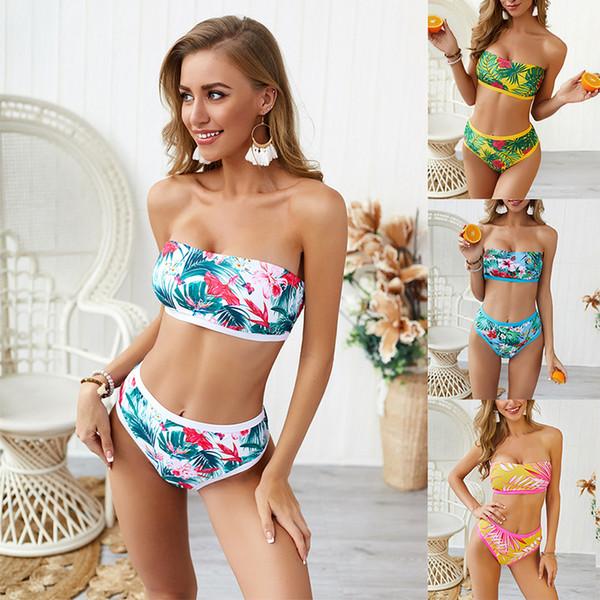 Mujeres sin tirantes Bikini Nylon Imprimir Push Up acolchado traje de baño 2019 de cintura alta Sexy traje de baño de baño más tamaño Bikini Sets XL