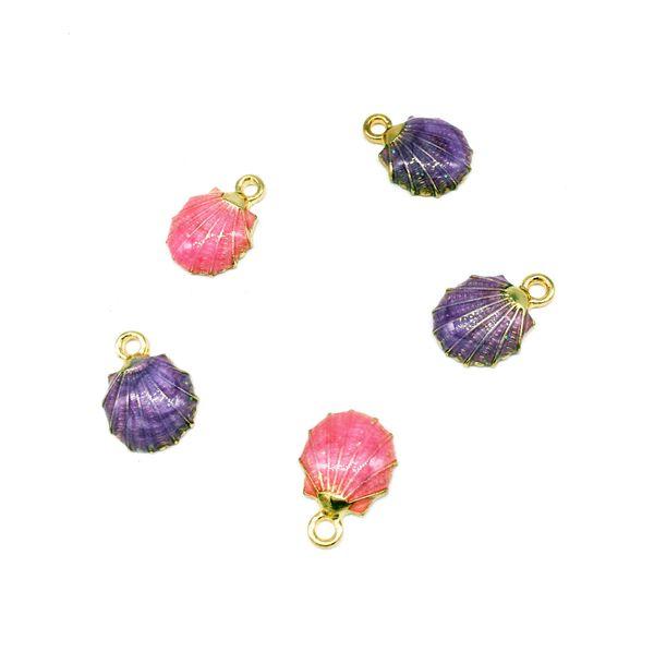 40pcs/lot New Arrival Zinc Alloy Metal Charms Shells Shape Oil Drop Charms Diy Jewelry Earring Pendants