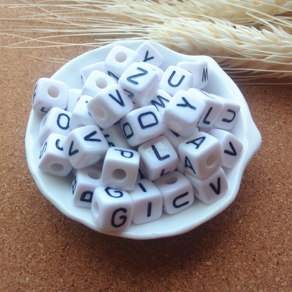 p-36 Perles Lettres 30 lots de A à Z Lettres perles en plastique rond blanc