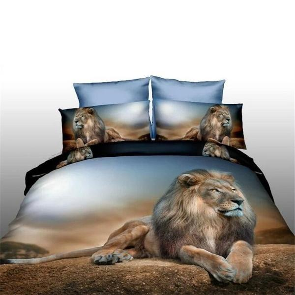 Löwe mit Blick auf Bettbezug Tagesdecke Kissen, Königskönigin 3-tlg König des Waldes Bettwäsche-Set (außer Quilts und Kissen)