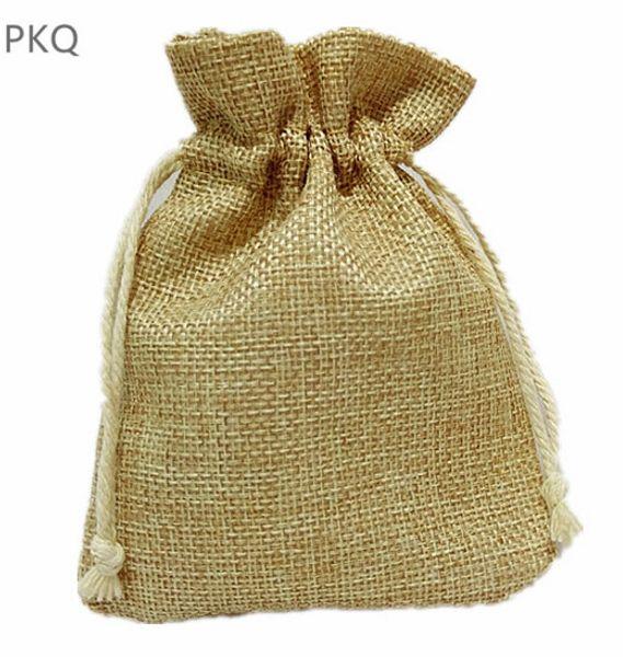 10pcs Natural Burlap Bag Drawstring Jewelry Packing Bag Small Gift for Sachet/Ring Drawable Storage Bags Wedding Supplies
