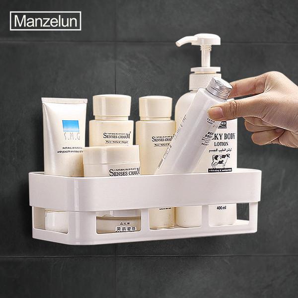 Plastic Bathroom Shelf Wall Mount Storage Rack Shower Organizer Cosmetic Storage Basket Drainage Design Punch-Free