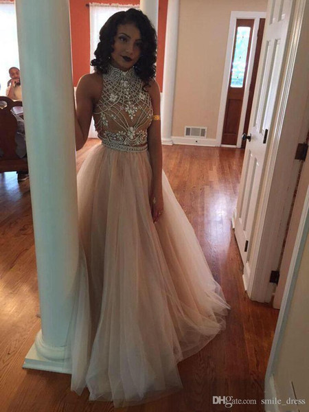 two pieces peach pink 2 piece prom dresses 2017 evening dresses beading long prom gowns floor length