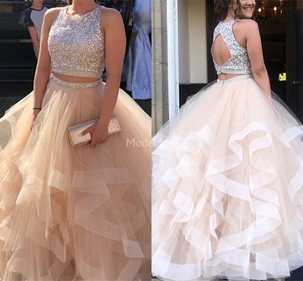 Gorgeous Biling Quinceanera Dresses 2019 Two Pieces Open Back Tiered Ball Gowns Long Formal Party Evening Gowns Hot Special Occasion Dresses