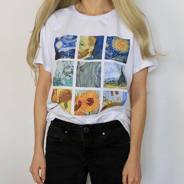 New Van Gogh art oil painting lattice print cute plus size casual female summer short-sleeved bf Harajuku T-shirt 2018