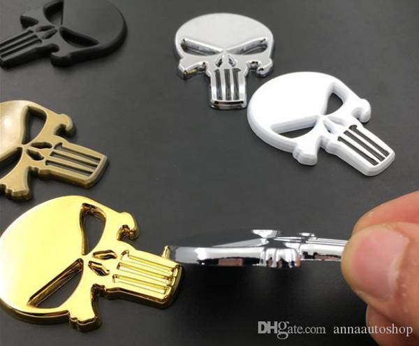 New Rhino Tuning Punisher Body Badge Skull 3D autocollant Emblème automatique en métal pour le corps entier QX80 FX35 G25 Q70 Qx60 Car-style