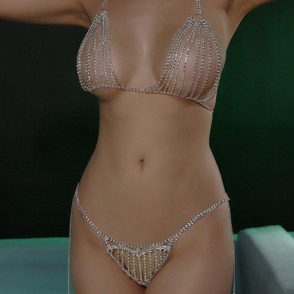 StoneFans strass chaîne culotte et soutien-gorge Ensemble-cadeau pour les femmes sexy de coeur en cristal d'argent pour les bijoux Panties femmes