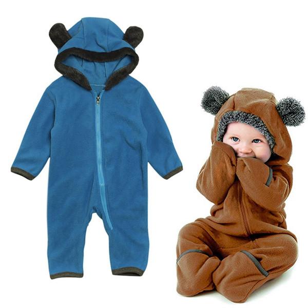 Baby onesie Cartoon Bear Solid Color Baby Rompers Infant Hooded Long Sleeve Jumpsuit Boy Girl Autumn Winter romper