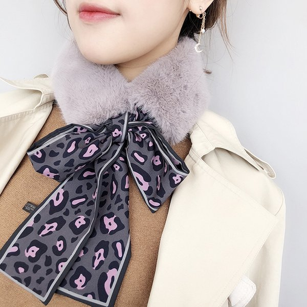2019 new arrival thick womens warm plush faux fur scarf with bow leopard print with strap collar shawl false collar ribbon