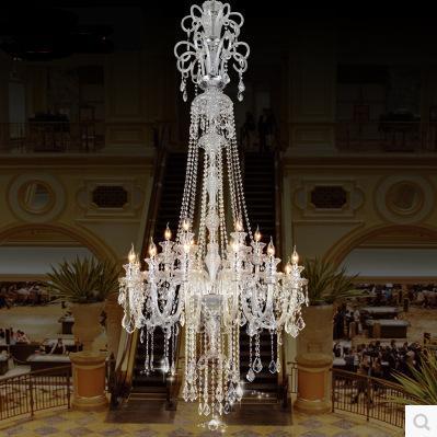large stair long hotel luxury crystal chandelier modern long K9 Lobby hotel lustres de cristal candle chandelier fixture