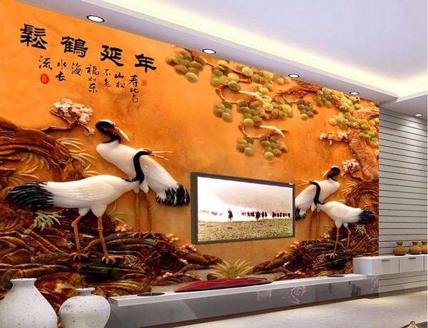 Benutzerdefinierte Wandbild Große Wandmalerei Moderne 3D StereoscopicSonghe Yannian Jade Carving Landschaft begrüßt Wohnzimmer TV Hintergrund Wallpaper
