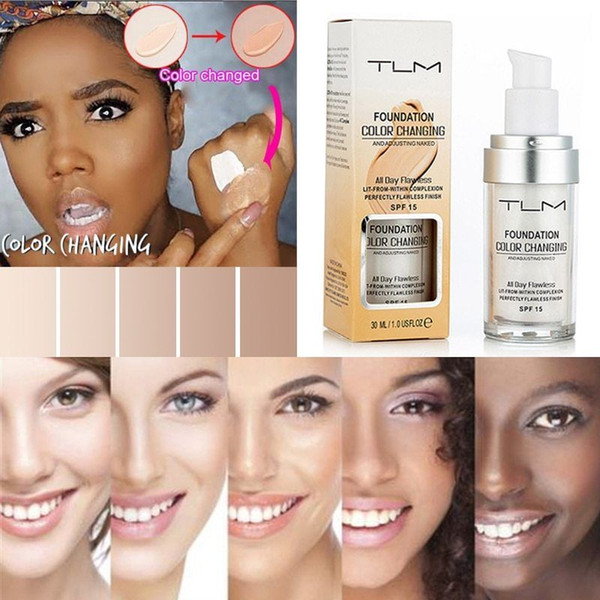 Dropshipping 30ml TLM Flawless Color Changing Liquid Foundation Makeup Change To Your Skin Tone By Just Blending