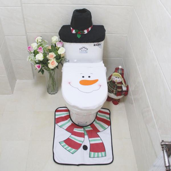 3pcs / set Snowman Natal Toilet Lid Seat Cover Rug Pé Mat Toilet Tampa Mat-do-chão do tanque de água e toalhas de papel
