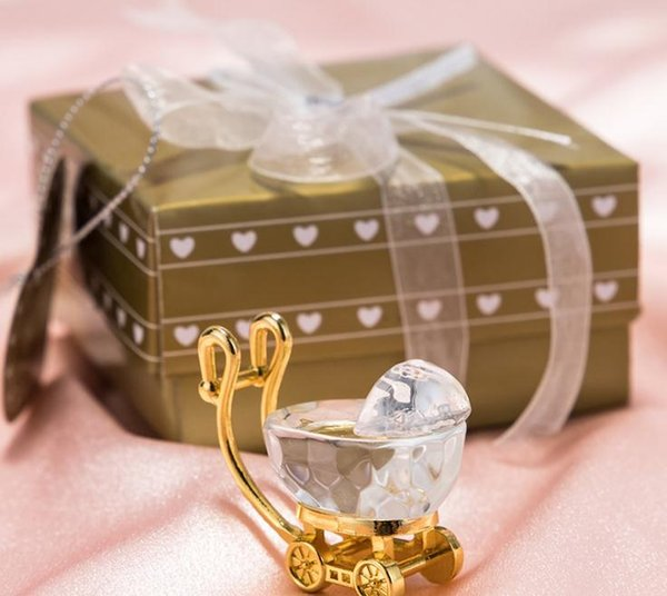 (50pcs/Lot)+Choice Crystal Gold and Clear Crystal Baby Carriage Birthday Party Giveaway For Guest SN2543