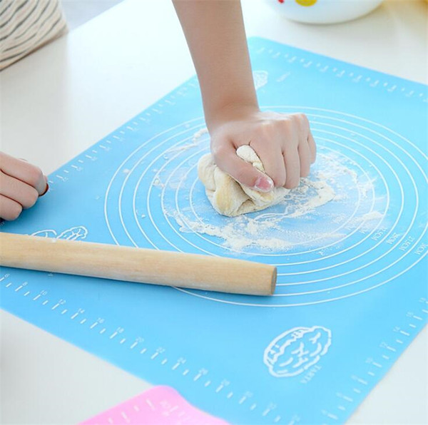 top popular 50*40CM Silicone baking mat 6 colors kneading dough mat dial pastry boards for fondant clay pastry bake tools heat insulation silpat mat 2020