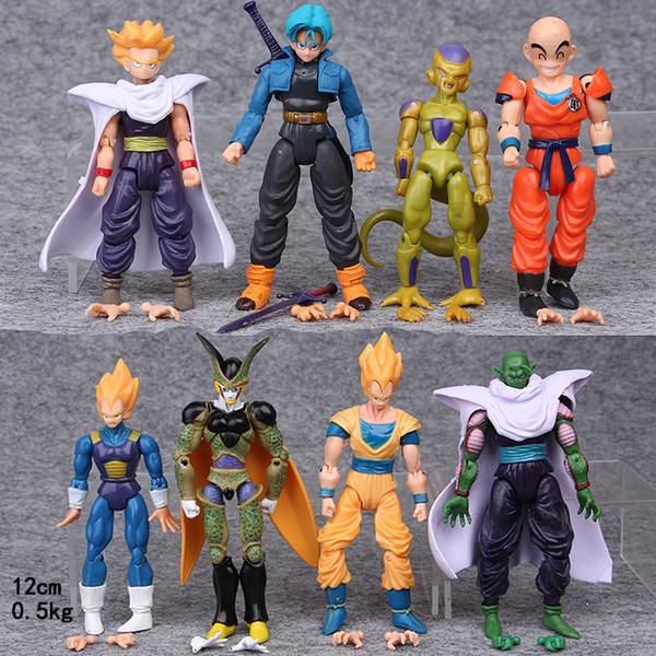8pcs/set Doll Dragon Ball Z Super Saiyan Son Goku Vegeta Gohan Trunks Piccolo Freeza Cell BJD PVC Action Figure Model Toys BANPRESTO
