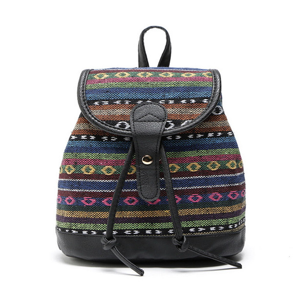 Women Fabric Backpack Cotton Children Bag Female Gypsy Bohemian Boho Chic Aztec Ibiza Tribal Ethnic Ibiza Brown Rucksack Bags