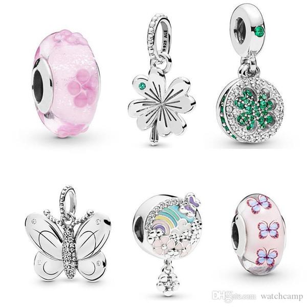 S925 cuentas de plata esterlina se adapta a Pandora pulsera para joyería hacer Crystal Dangle Butterfly Beads Charms para la cadena europea de la serpiente moda
