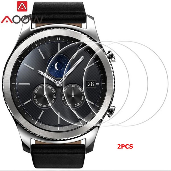 AOOW 2pcs Tempered Glass For Samsung Galaxy Watch Gear S3 Frontier/classic S2 Screen Protector Film 9H 2.5D Explosion-proof