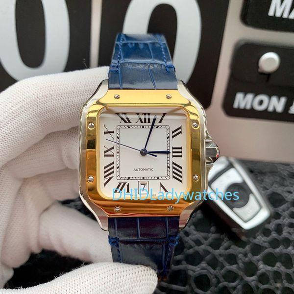 Reloj para hombre nuevo Movimiento electrónico de cuarzo importado Caja de acero inoxidable 316 Fecha automática Correa casual de cuero naranja Reloj de lujo X71