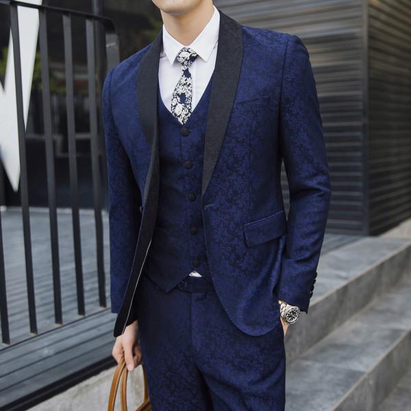 Nova Primavera dos homens Ternos Dos Homens de Negócios de Moda Casual Impressão Silm Casamento 3 Peça Terno Blazer com Calças Colete Grande Tamanho 5XL