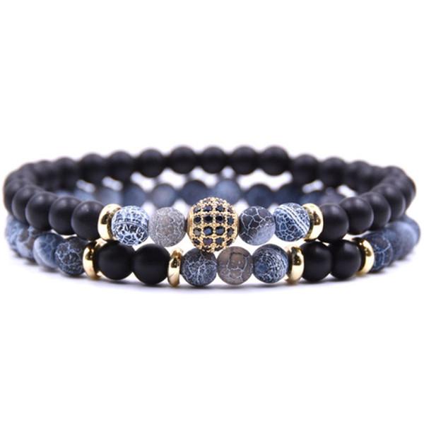 2 teile / satz 2019 Mode Neue Klassische Naturstein Perlen Armbänder Männer Luxus Disco Ball Charme Armbänder Für Männer Schmuck Geschenk ZX2