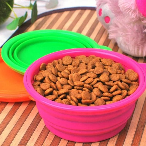 2019 Travel Collapsible Silicone Pets Bowl Food Water Feeding BPA Free Foldable Cup Dish for Dogs Cat Drop