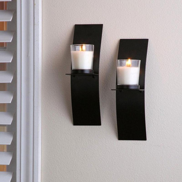best service 75185 cf773 Wall Candle Holders With Glass Cup Black Metal Arc Candlestick Simple  Classic Candle Holders For Home Ornaments Home Decor Flat Candle Holders ...