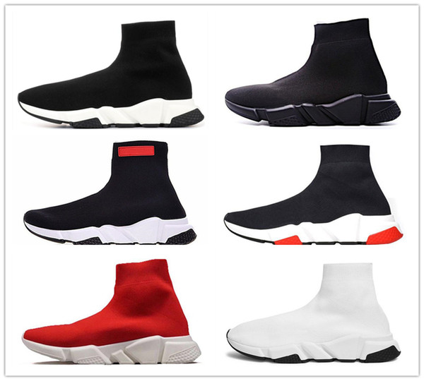 2019 Designer Socks shoes fashion men women sneakers speed trainer black white blue glitter mens trainers casual Runner shoe heavy sole