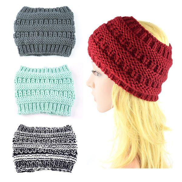 Knitted Headband Adults Man Woman Sport Winter Warm Beanies Hair Accessories Boho headbands Fascinator Hat Head 100pcs T1I1120
