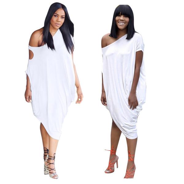 Vestidos de falda sexy de verano de moda para mujer de un solo hombro vestido asimétrico vestido suelto sólido para las mujeres