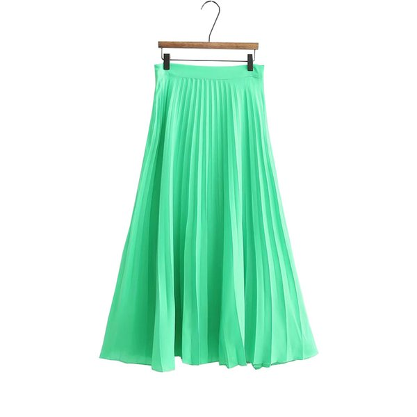 2019 Harajuku Frauen Sommer Rock Hohe Taille Frauen Grün Langen Rock Saias Femme Fashion Plissee Streetwear