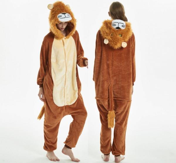 Leão Estilo Animal Pijama Adulto Onesie Mulheres Pijama Pijama Inverno Sleepwear Onepiece Noite Ternos Traje Vestido MC5103