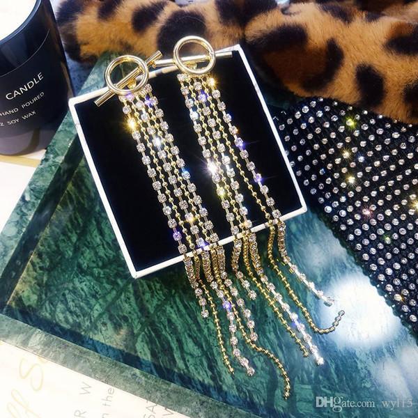 Nuevos pendientes de lujo de cristal Pendientes de borla para mujer Pendientes de diamantes de imitación Pendientes Joyería de moda Lámpara colgante Cuelga